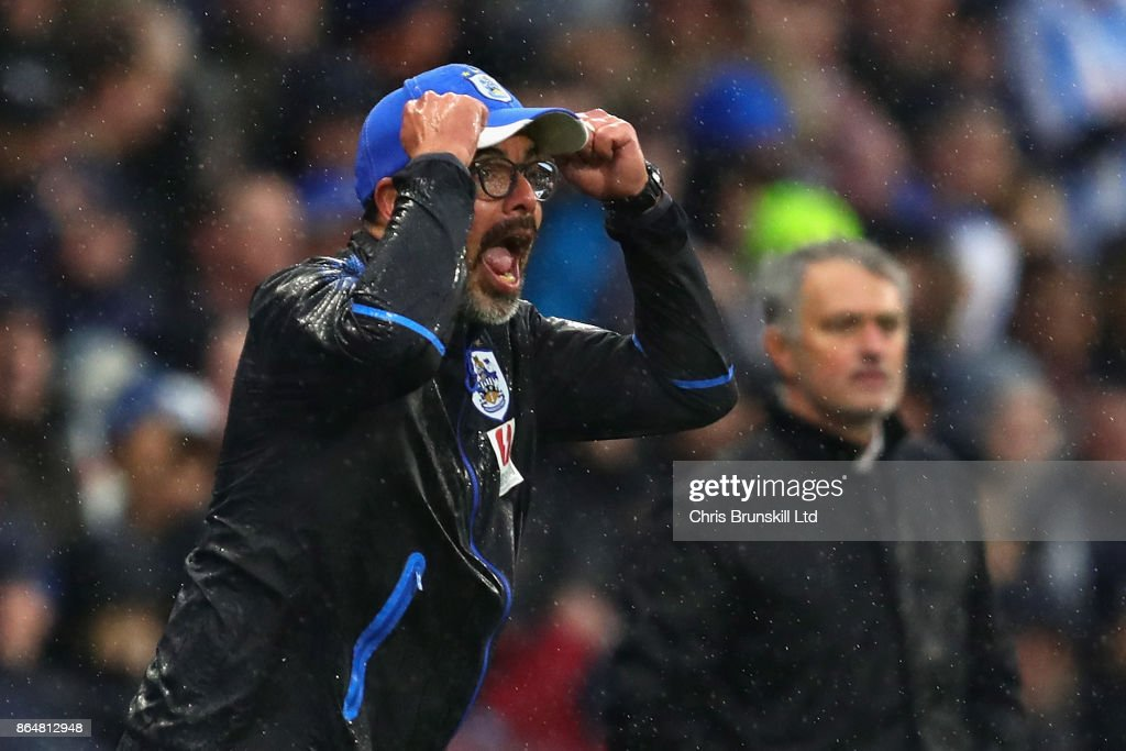 David Wagner, Manager of Huddersfield Town shouts from the sidelines during the Premier League match between Huddersfield Town and Manchester United at John Smith's Stadium on October 21, 2017 in Huddersfield, England.