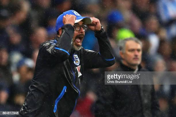 David Wagner Manager of Huddersfield Town shouts from the sidelines during the Premier League match between Huddersfield Town and Manchester United...