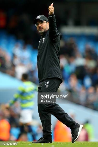 David Wagner manager of Huddersfield Town shows appreciation to the fans after the Premier League match between Manchester City and Huddersfield Town...