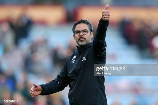 David Wagner manager of Huddersfield Town shows appreciation to the fans after the Premier League match between Burnley FC and Huddersfield Town at...