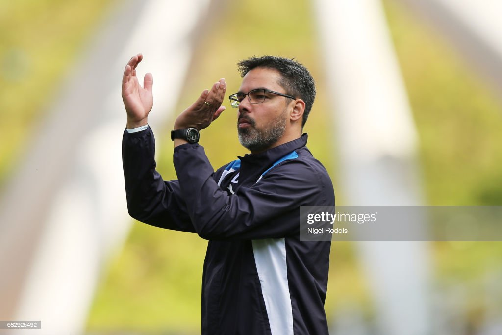 David Wagner, Manager of Huddersfield Town shows appreciation to the fans after the Sky Bet Championship Play Off Semi Final 1st leg match between Huddersfield Town and Sheffield Wednesday at Galpharm Stadium on May 14, 2017 in Huddersfield, England.