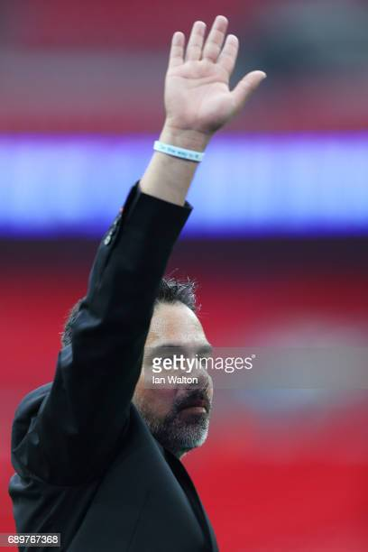 David Wagner Manager of Huddersfield Town shows appreciation to the fans after the Sky Bet Championship play off final between Huddersfield and...