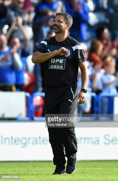 David Wagner Manager of Huddersfield Town shows appreciation to the fans after the Premier League match between Huddersfield Town and Southampton at...
