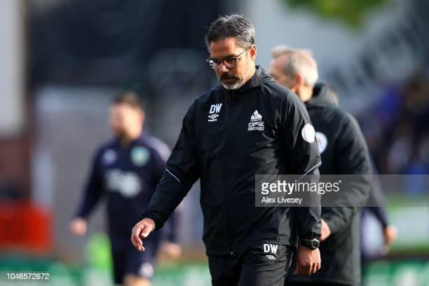 David Wagner manager of Huddersfield Town walks across the pitch at half time during the Premier League match between Burnley FC and Huddersfield...