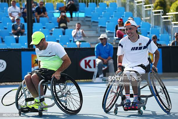 David Wagner of the United States and Andrew Lapthorne of Great Britain in action in their match against Lucas Sithole of South Africa and Dylan...