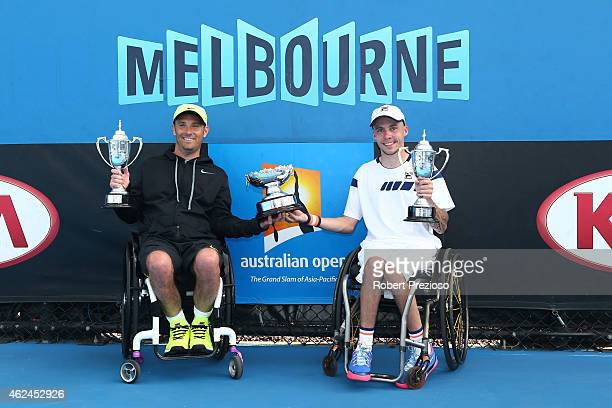 David Wagner of the United States and Andrew Lapthorne of Great Britain pose with the winners trophy after defeating Lucas Sithole of South Africa...