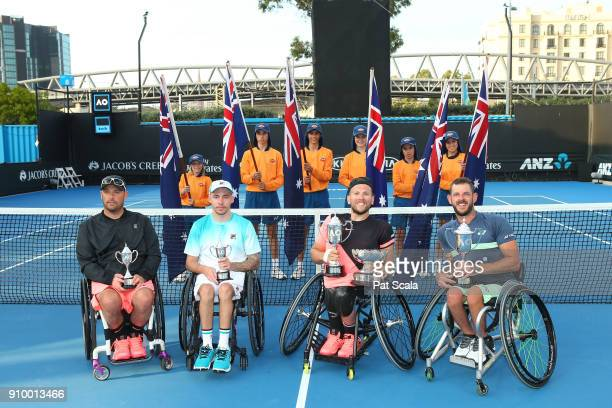 David Wagner of the United States Andy Lapthorne of Great Britain Dylan Alcott of Australia and Heath Davidson of Australia hold up their trophies...