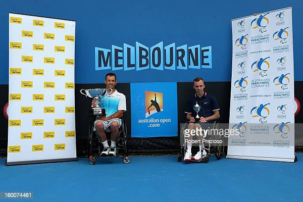 David Wagner of the United States of America and Andrew Lapthorne of Great Britain pose with their trophies after the Quad Wheelchair Singles final...