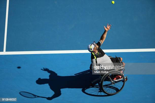 David Wagner of the United States serves in his Quad Wheelchair Singles Final against Dylan Alcott of Australia during the Australian Open 2018...