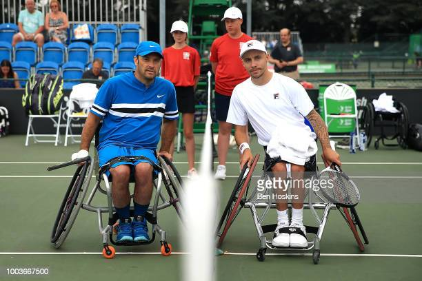 David Wagner of The USA and Andy Lapthorne of Great Britain pose for a picture ahead of the men's quad final on day six of The British Open...