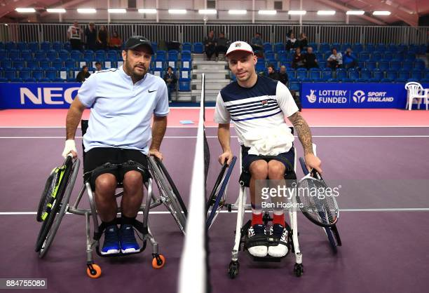 David Wagner of The USA and Andy Lapthorne of Great Britain pose for a picture ahead of the quads final on day five of The NEC Wheelchair Tennis...