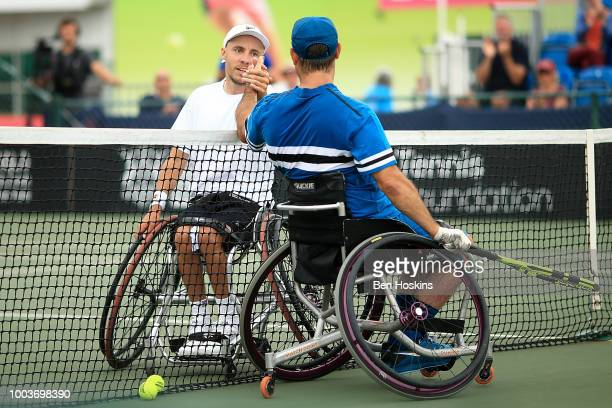 David Wagner of The USA and Andy Lapthorne of Great Britain shake hands following the men's quad final on day six of The British Open Wheelchair...