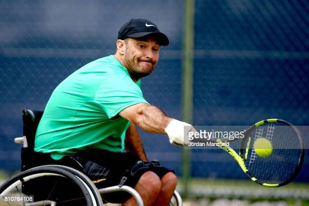 David Wagner of the USA plays a backhand during his Quad Singles Final match against Andy Lapthorne of Great Britain during day three of the Surbiton...