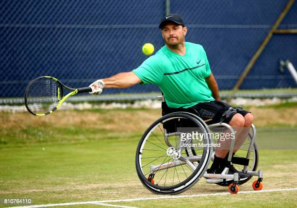 David Wagner of the USA plays a forehand during his Quad Singles Final match against Andy Lapthorne of Great Britain during day three of the Surbiton...