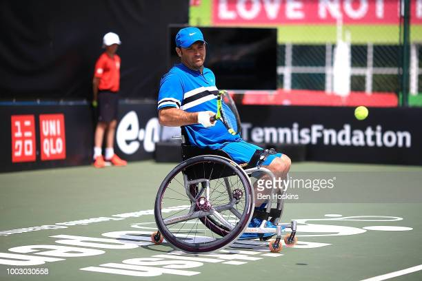 David Wagner of The USA plays a forehand during the final of the men's quad doubles against Ymanitu Silva of Brazil and Shota Kawano of Japan on day...