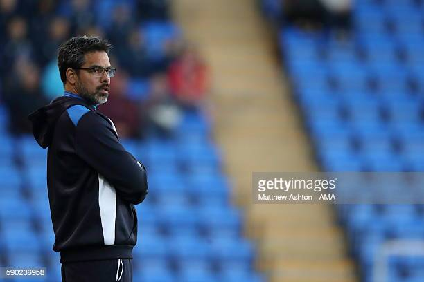 David Wagner the head coach / manager of Huddersfield Town during the EFL Cup match between Shrewsbury Town and Huddersfield Town at Greenhous Meadow...