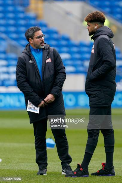 David Wagner the head coach of Huddersfield Town and Philip Billing of Huddersfield Town before the Premier League match between Cardiff City and...
