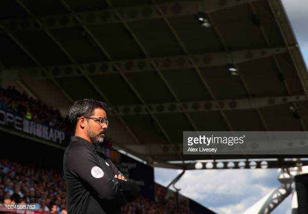 David Wagner the manager of Huddersfield Town looks on during the Premier League match between Huddersfield Town and Cardiff City at John Smith's...