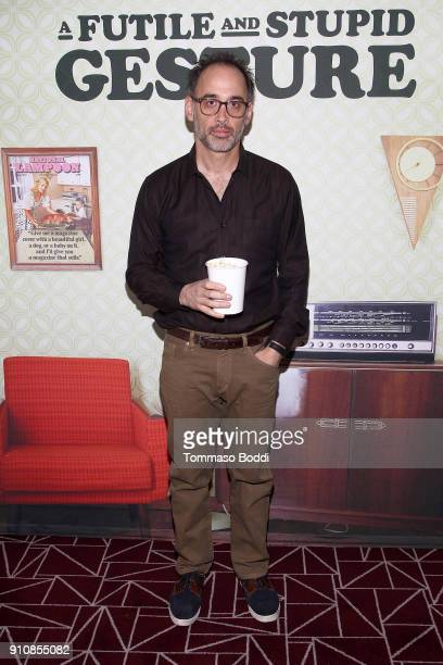 David Wain attends the cast and crew screening of 'A Futile And Stupid Gesture' hosted by EW and Netflix at The London West Hollywood Hotel on...