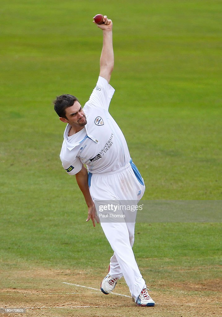 David Wainwright of Derbyshire bowls during the LV County Championship match between Derbyshire and Durham at The County Ground on September 13, 2013 in Derby, England.