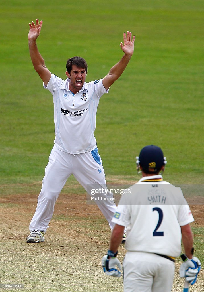 David Wainwright of Derbyshire unsuccessfully appeals for a wicket during the LV County Championship match between Derbyshire and Durham at The County Ground on September 13, 2013 in Derby, England.