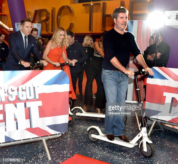 David Walliams Amanda Holden and Simon Cowell during the 'Britain's Got Talent' Manchester photocall at The Lowry on February 06 2019 in Manchester...