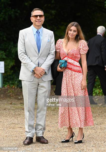 David Walliams and Keeley Hazell seen arriving at the wedding of Ant McPartlin and Anne-Marie Corbett at St Michael's Church in Heckfield on August...