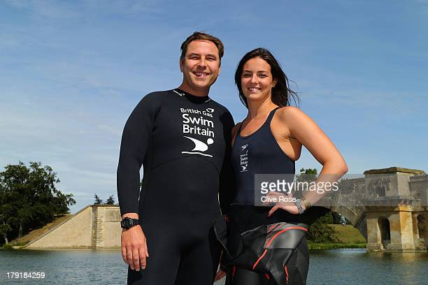 David Walliams and KeriAnne Payne pose for pictures during the British Gas SwimBritain event at Blenheim Palace on September 1 2013 in Woodstock...