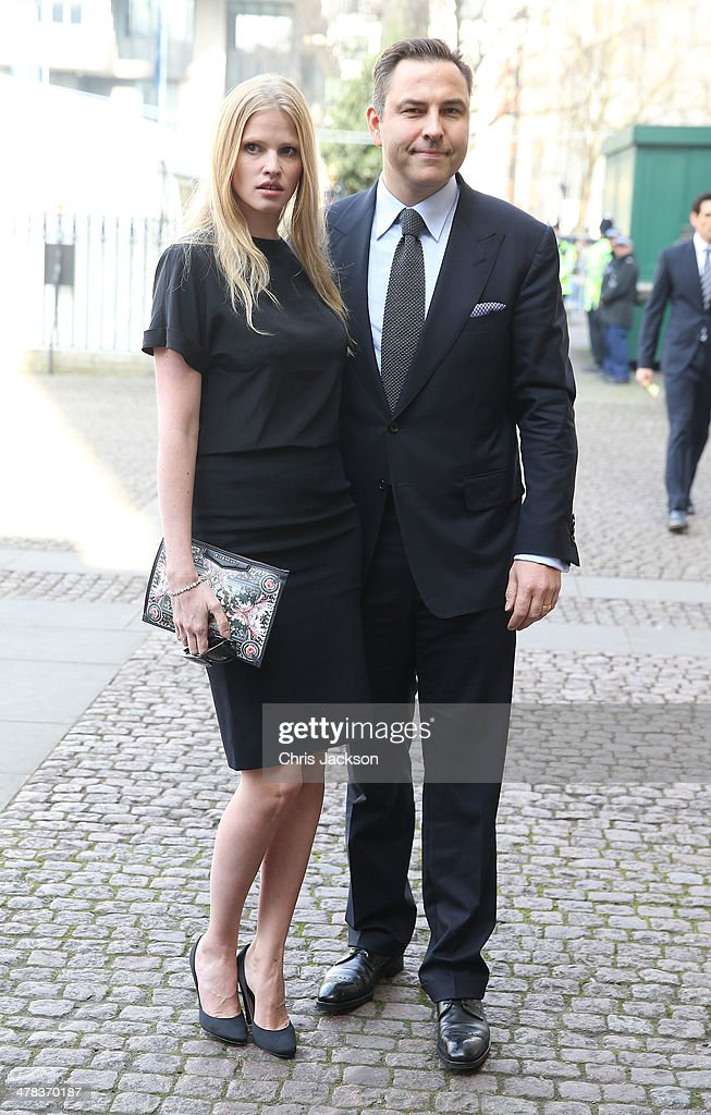 David Walliams and Lara Stone attend a memorial service for Sir David Frost at Westminster Abbey on March 13, 2014 in London, England.