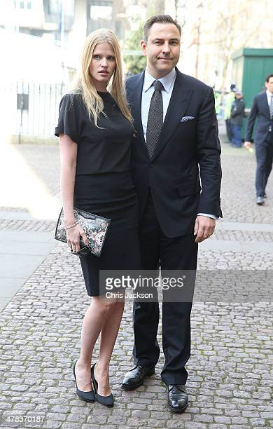 David Walliams and Lara Stone attend a memorial service for Sir David Frost at Westminster Abbey on March 13 2014 in London England