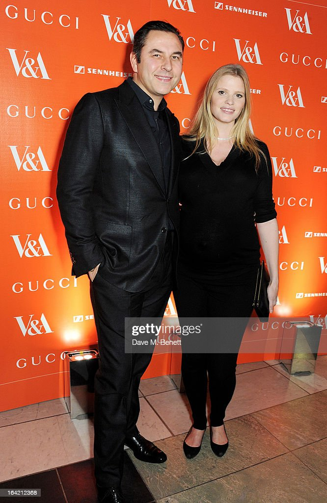 David Walliams (L) and Lara Stone attend the dinner to celebrate The David Bowie Is exhibition in partnership with Gucci and Sennheiser at the Victoria and Albert Museum on March 19, 2013 in London, England.