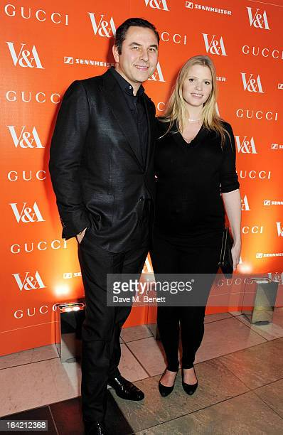 David Walliams and Lara Stone attend the dinner to celebrate The David Bowie Is exhibition in partnership with Gucci and Sennheiser at the Victoria...