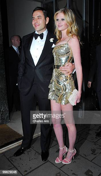 David Walliams and Lara Stone leave their Wedding Reception at Claridge's Hotel on May 16 2010 in London England