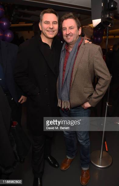 """David Walliams and Lee Mack attend the press night performance of Matthew Bourne's """"The Red Shoes"""" at Sadler's Wells Theatre on December 15, 2019 in..."""