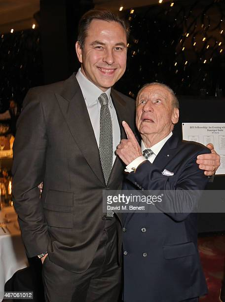 David Walliams and Mel Brooks attend the Mel Brooks BFI Fellowship Dinner at The May Fair Hotel on March 20 2015 in London England