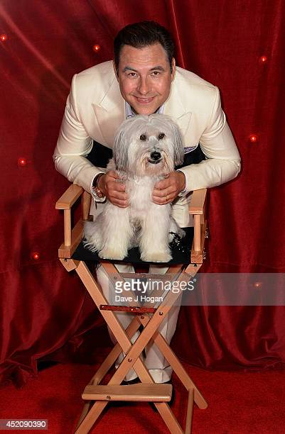 David Walliams and Pudsey attend the World Premiere of 'Pudsey The Dog The Movie' at Vue West End on July 13 2014 in London England