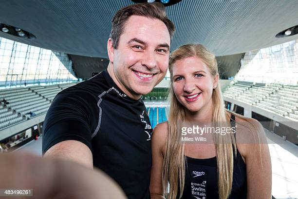 David Walliams and Rebecca Adlington pose for a picture at the top of the 10m diving platform during the launch of the British Gas SwimBritain event...