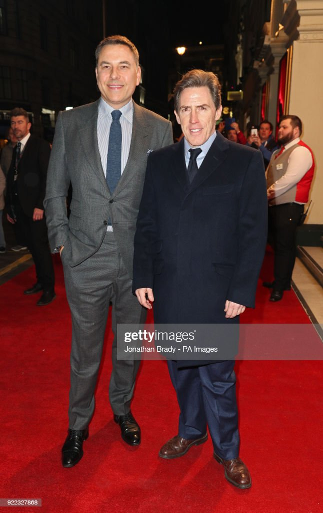David Walliams (left) and Rob Brydon arrives at the BBC event Bruce: A Celebration at the London Palladium, which will honour the life of the late entertainer Sir Bruce Forsyth.