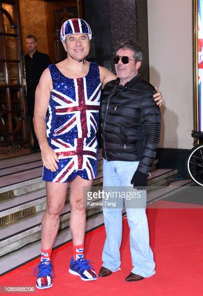 David Walliams and Simon Cowell arrive at the Britain's Got Talent 2019 photocall at London Palladium on January 20 2019 in London England