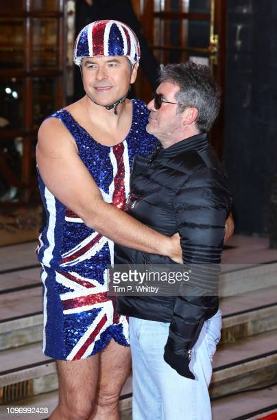 David Walliams and Simon Cowell arrive at the Britain's Got Talent 2019 auditions held at London Palladium on January 20 2019 in London England
