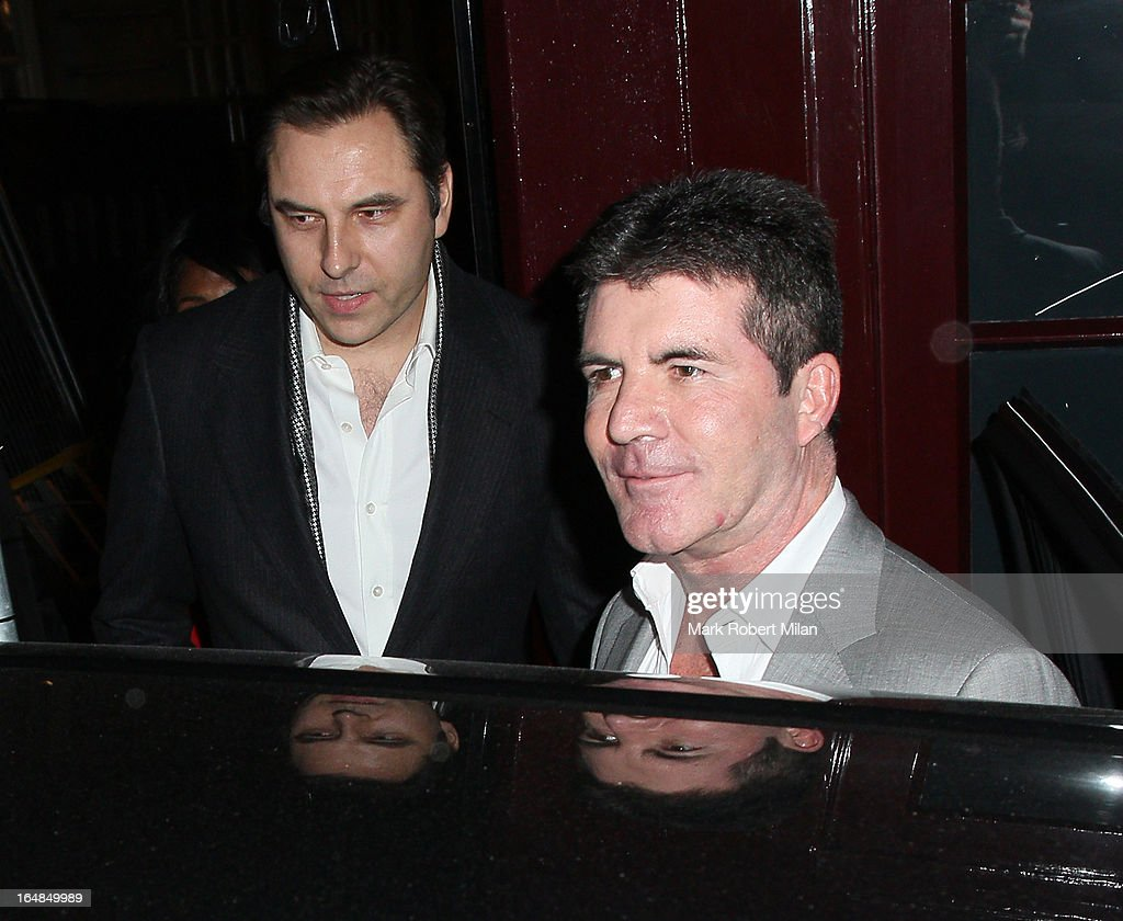 David Walliams and Simon Cowell at Lou Lou's Club on March 28, 2013 in London, England.