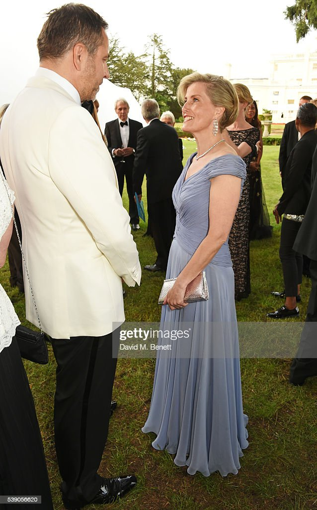 David Walliams (L) and Sophie, Countess of Wessex attend the Duke of Edinburgh Award 60th Anniversary Diamonds are Forever Gala at Stoke Park on June 9, 2016 in London, England.