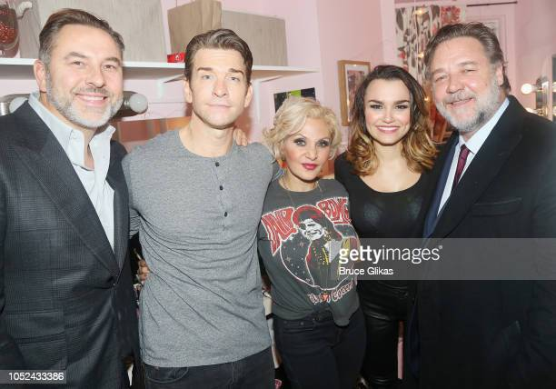 David Walliams Andy Karl Orfeh Samantha Barks and Russell Crowe pose backstage at the hit musical based on the film 'Pretty Woman' on Broadway at The...