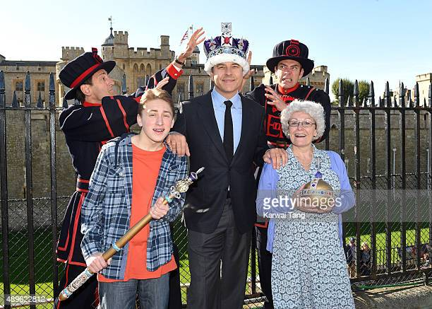 David Walliams Ashley Cousins and Gilly Tompkins attend a photocall to launch Gangsta Granny Live at Tower of London on September 23 2015 in London...