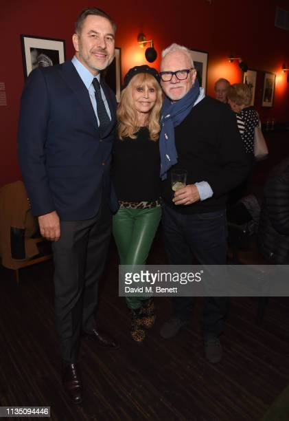 David Walliams Britt Ekland and Malcolm McDowell attend 'In Conversation With Malcolm McDowell' at the BFI Southbank on April 5 2019 in London England