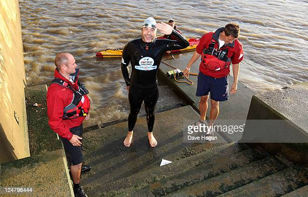 David Walliams completes his attempt to swim the length of the Thames for sport relief on September 12 2011 in London United Kingdom Walliams started...