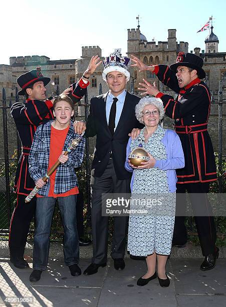 David Walliams Gilly Tompkins and Ashley Cousins attend a photocall to launch Gangsta Granny Live at Tower of London on September 23 2015 in London...