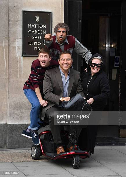 David Walliams Gilly Tompkins Ashley Cousins and Umar Malik attend a Photocall for the Gangsta Granny stage show on September 26 2016 in London...