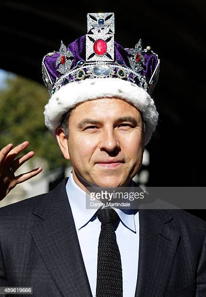 David Walliams is seen with the crown jewels at a photocall to launch Gangsta Granny Live at Tower of London on September 23 2015 in London England
