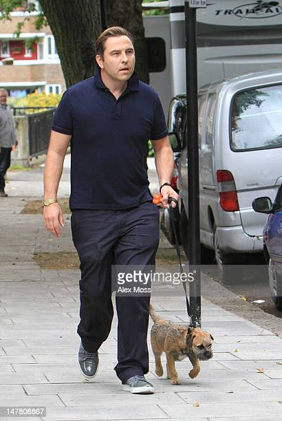 David Walliams is sighted in Primrose Hill where his wife Lara Stone was participating in a photoshoot on July 3 2012 in London England
